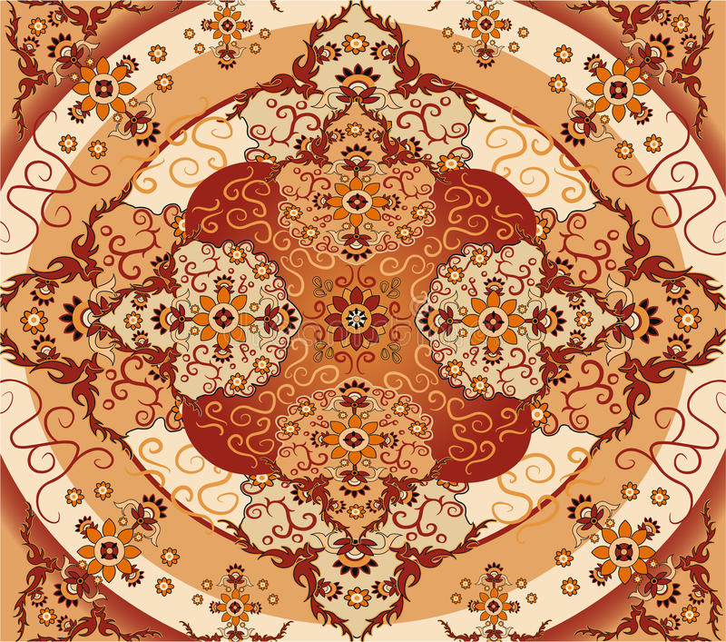 Floral carpet vector. Floral carpet on brown color, vector royalty free illustration
