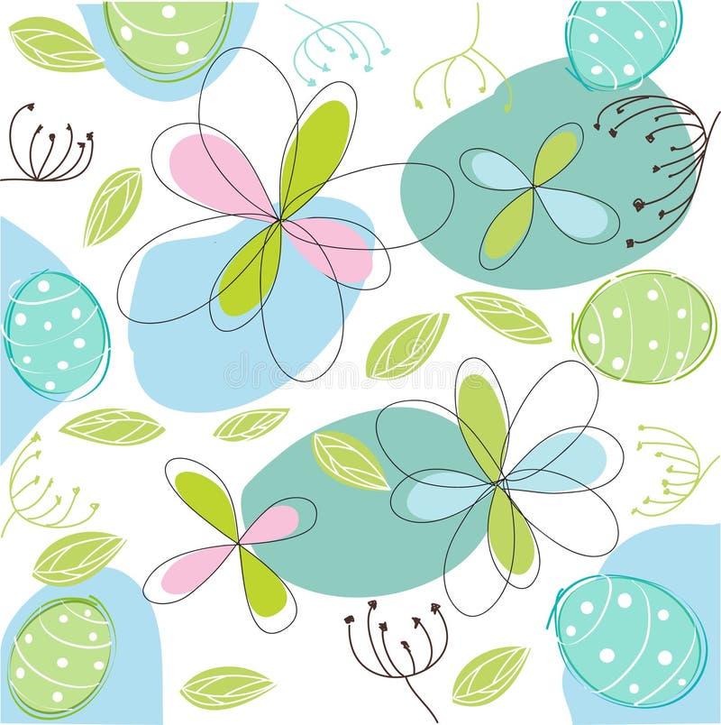 Floral, cartão de easter ilustração royalty free