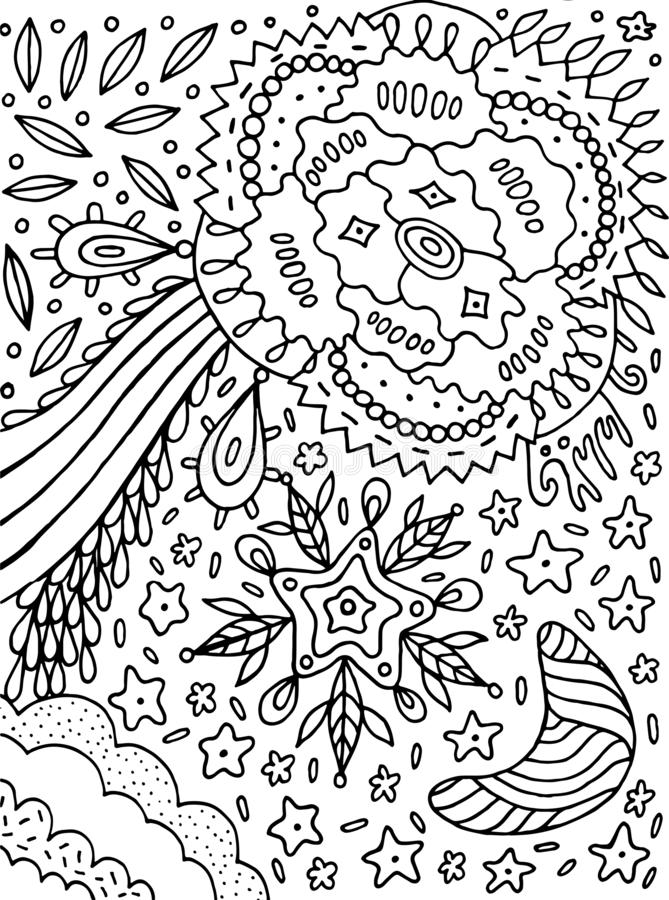 Floral cartoon abstract doodle. Ink line drawing. Coloring page for adults. Vector illustration.  vector illustration