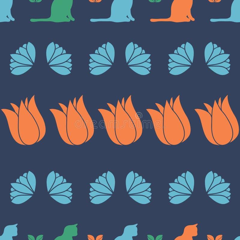 Floral Cat silhouette rijen vector naadloos patroonontwerp royalty-vrije illustratie