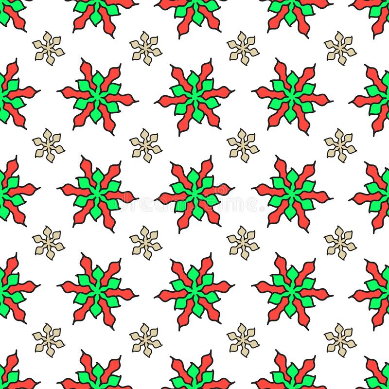 Floral Christmas new year celebration design seamless pattern vector background art with green red and beige star looking flowers vector illustration