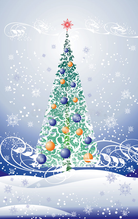 Floral christmas tree vector illustration
