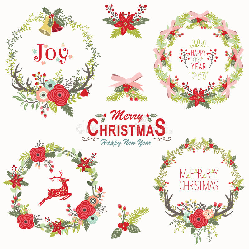 Floral Christmas Wreath Elements stock illustration