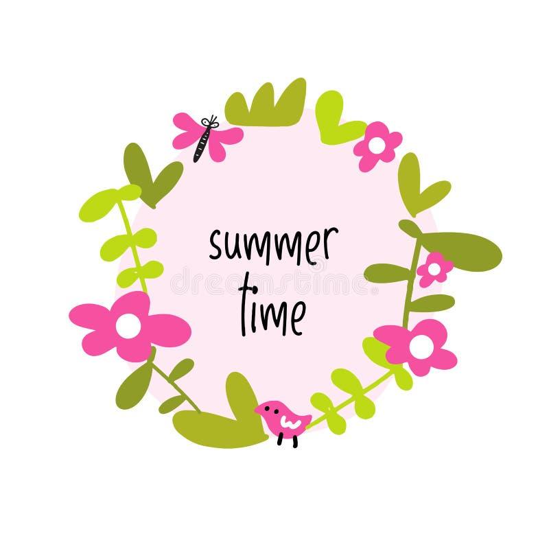 Floral circle border. Summer time. Invitation, greeting card concept. Vector illustration of blossom. Floral circle border. Summer time. Invitation, greeting royalty free illustration