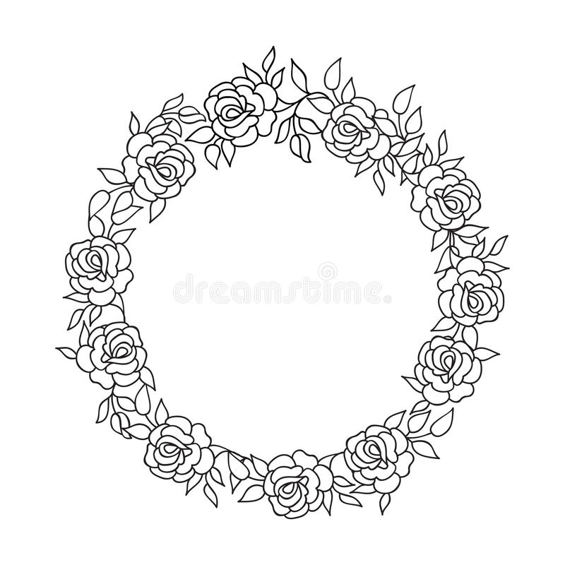 Flower Circle Line Drawing : Floral circle frame flourish ethnic background flower