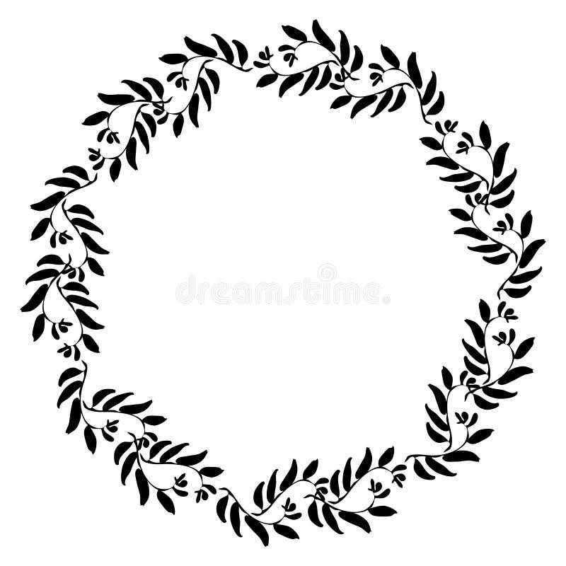 Floral circle frame royalty free illustration