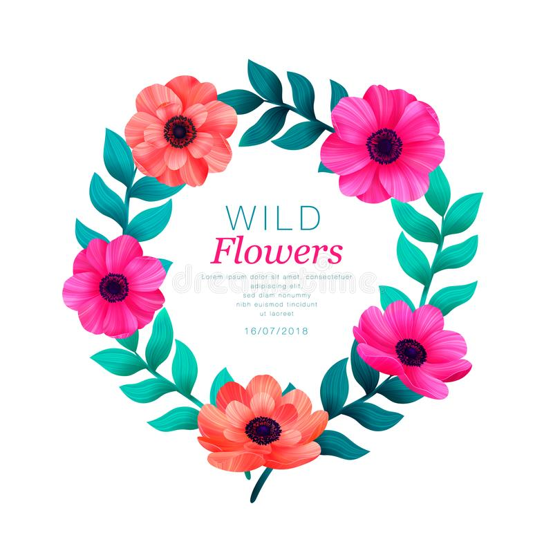 Floral circle frame. Tropical flowers trendy template. Design with beautiful flowers and palm leaves with copy space on vector illustration