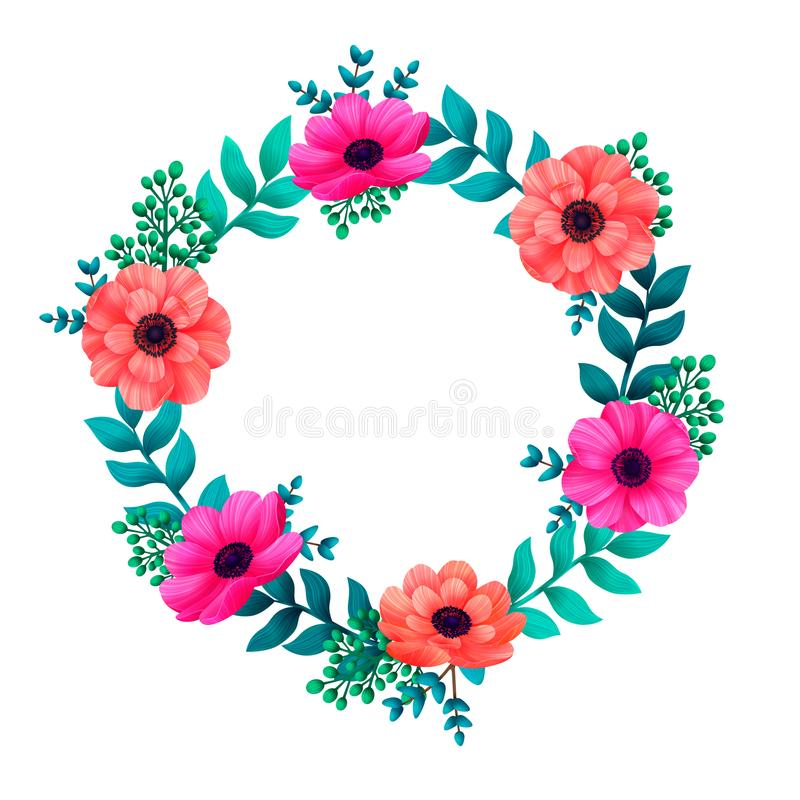 Floral circle frame. Tropical flowers trendy template. Summer Design with beautiful flowers and leaves with copy space royalty free illustration