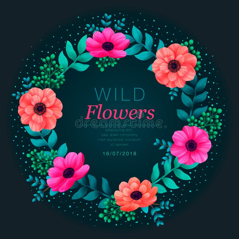Floral circle frame. Tropical flowers trendy template. Summer Design with beautiful neon flowers and leaves with copy royalty free illustration