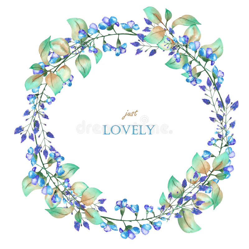 A floral circle frame (wreath) of the watercolor blue flowers and green leaves, a place for a text vector illustration