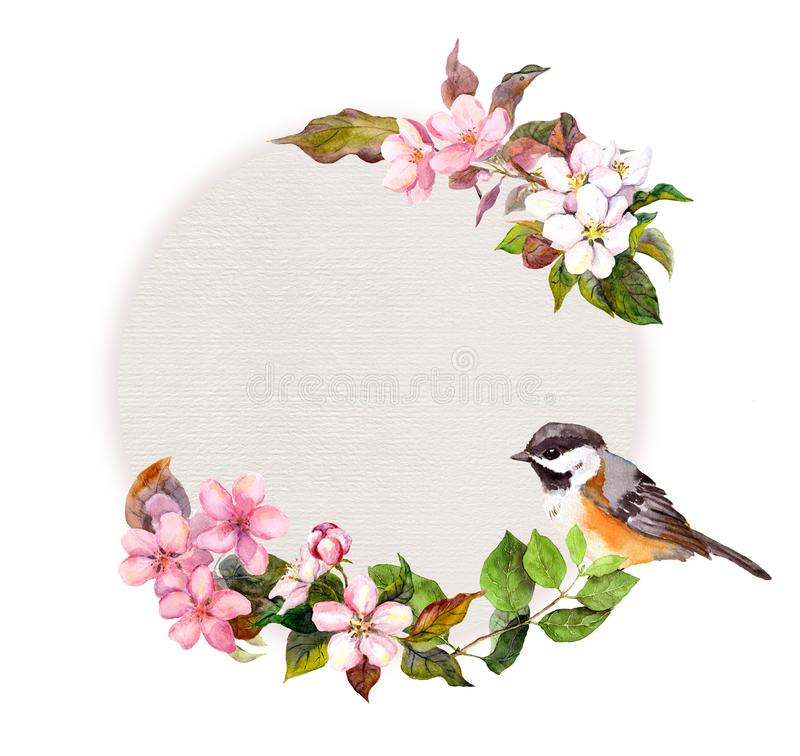 Floral circle pattern - flowers and cute bird for fashion design. Watercolor round border vector illustration