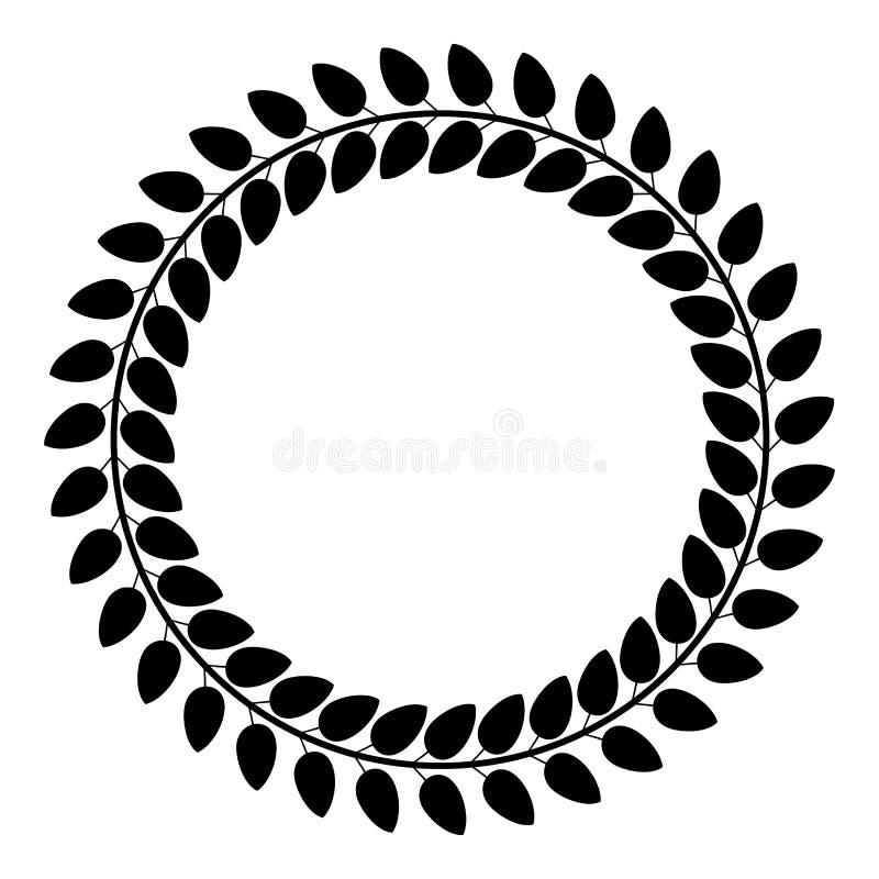 Floral circle Wreath of leaves Round floral frames Floral border icon black color vector illustration flat style image stock illustration