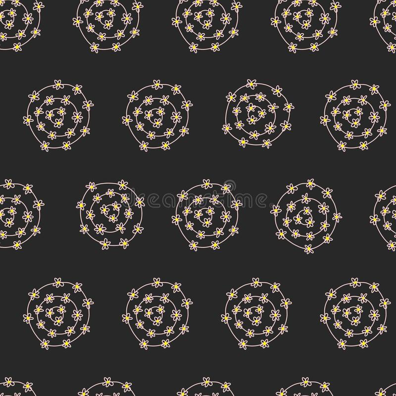 Floral circles seamless abstract vector pattern. Hand drawn doodle dots with flowers repeating background designing vector illustration