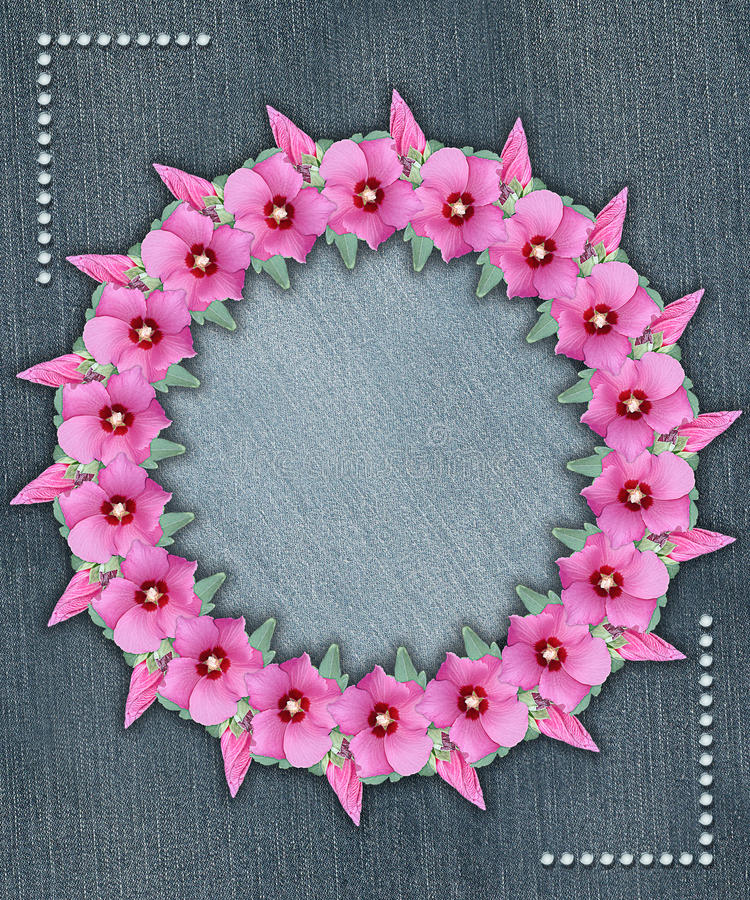 Floral circular frame with denim background. Floral frame with denim background and angle motifs royalty free stock image