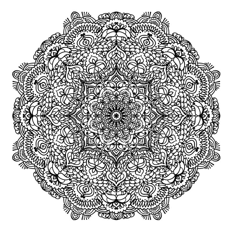 Floral Circular Pattern Mandala For Coloring Page Outline ...