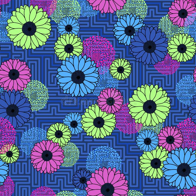 Floral clash on geometric background neon colors seamless pattern royalty free stock image