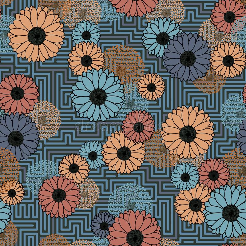 Floral clash on geometric background grey seamless pattern royalty free stock photo
