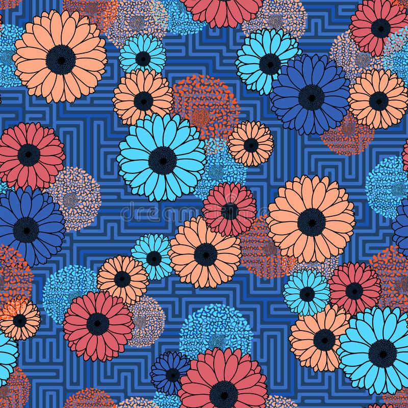 Vector Floral clash on geometric background seamless pattern blue royalty free stock images