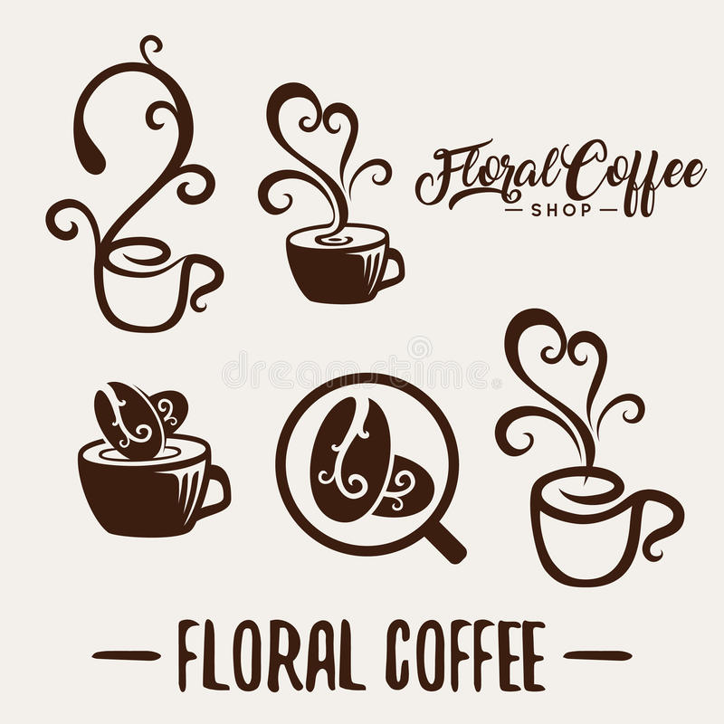 Floral coffee shop logo template natural abstract coffee cup. With steam coffee house emblem creative cafe logotype modern trendy symbol design vector stock illustration