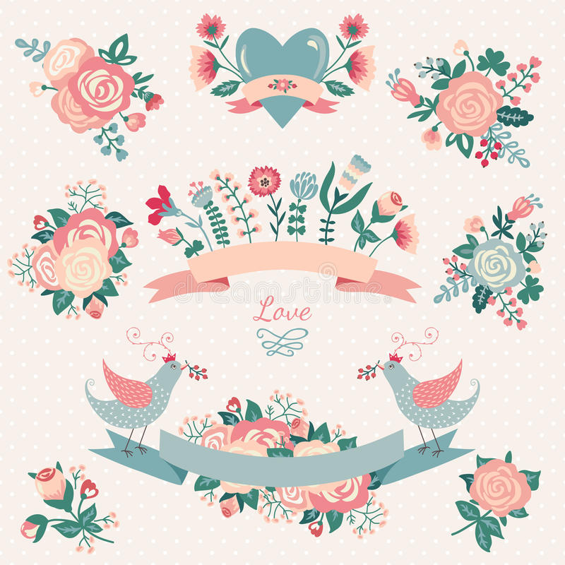 Floral collection with design elements stock illustration