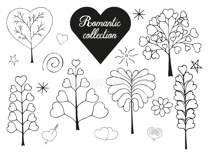 Floral collection of hand drawn romantic herbs. stock illustration