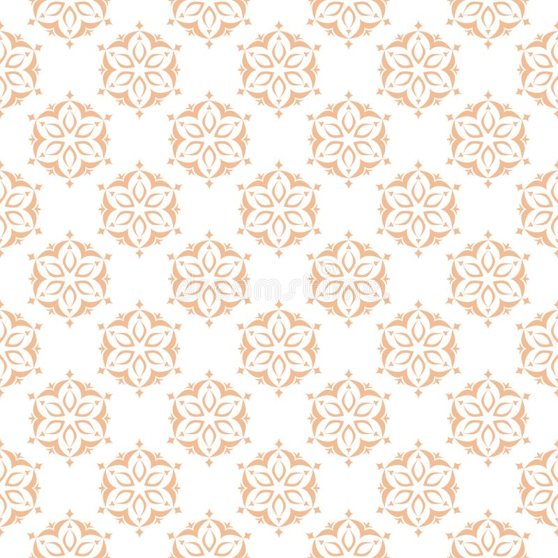 Floral colored seamless pattern. Brown and white background with fower elements for wallpapers stock illustration