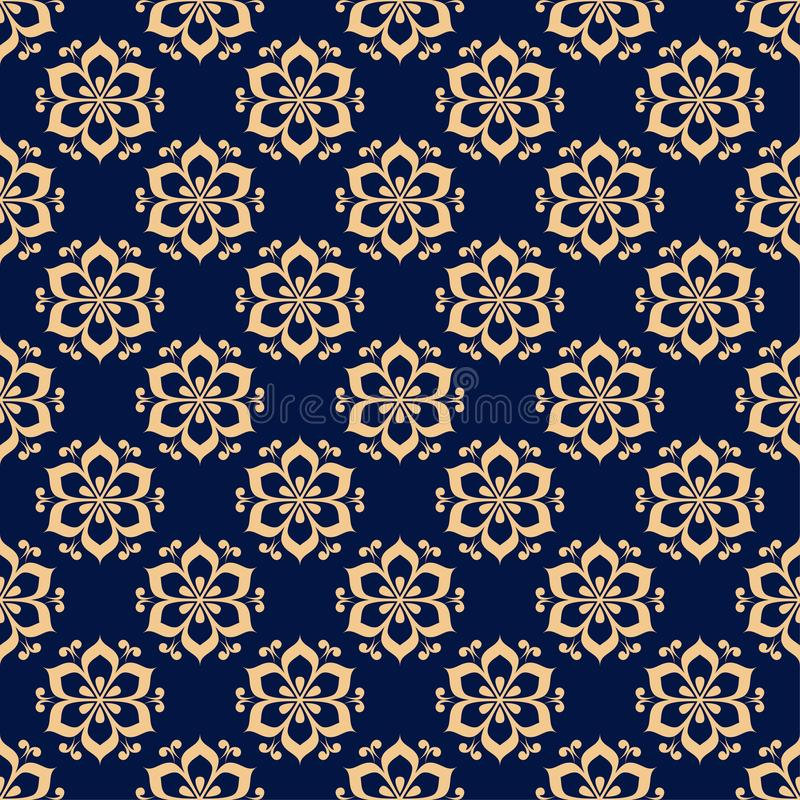 Floral colored seamless pattern. Golden blue background with fower elements for wallpapers royalty free illustration