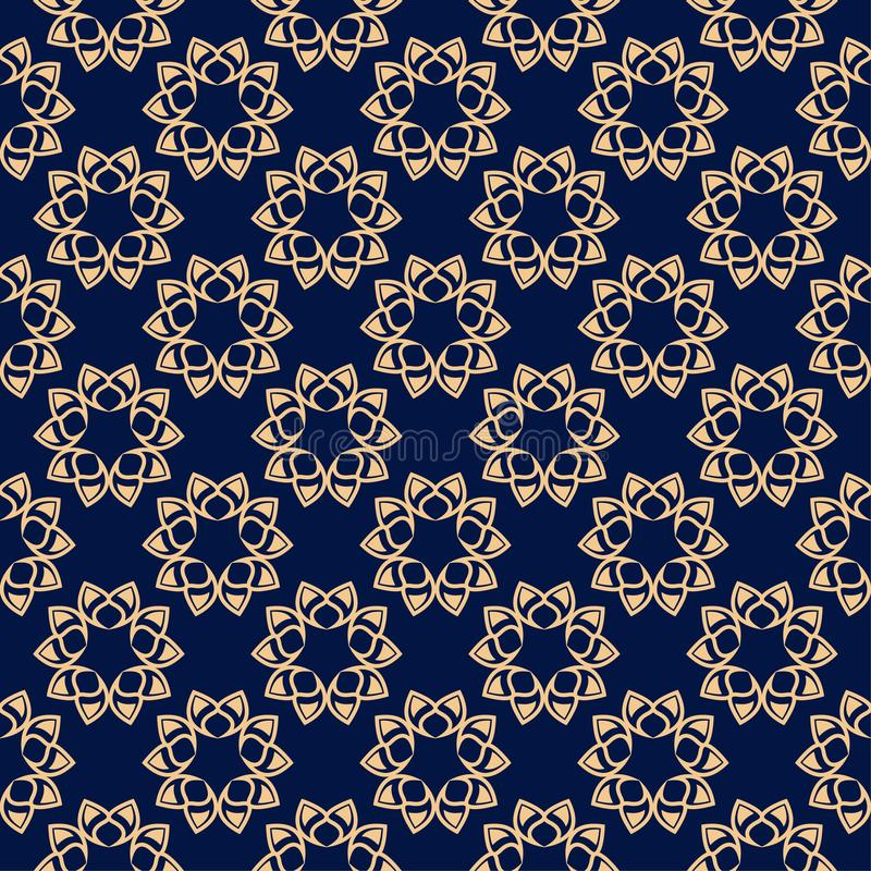 Floral colored seamless pattern. Golden blue background with fower elements for wallpapers vector illustration