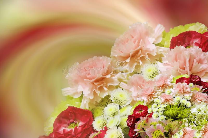 Floral colorful beautiful background. Bouquet of red-pink-white-yellow flowers. Flower composition. Nature stock image