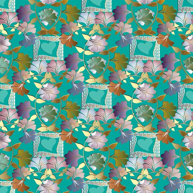 Floral Colorful 3d Seamless Pattern Vector Background Wallpaper With Vintage Flowers Love Hearts Swirl Leaves Curves Lines Frames Meanders