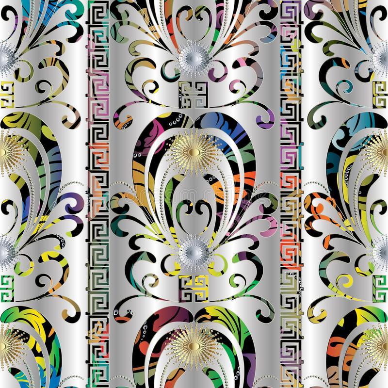 Floral colorful 3d seamless pattern. Vector damask silver background with hand drawn flowers, vertical. Stripes, sun, borders, greek key, meander ornaments royalty free illustration