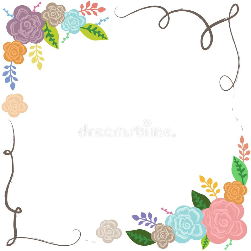 Floral colorful frame wedding poster card diary cover backdrop wallpaper stock illustration