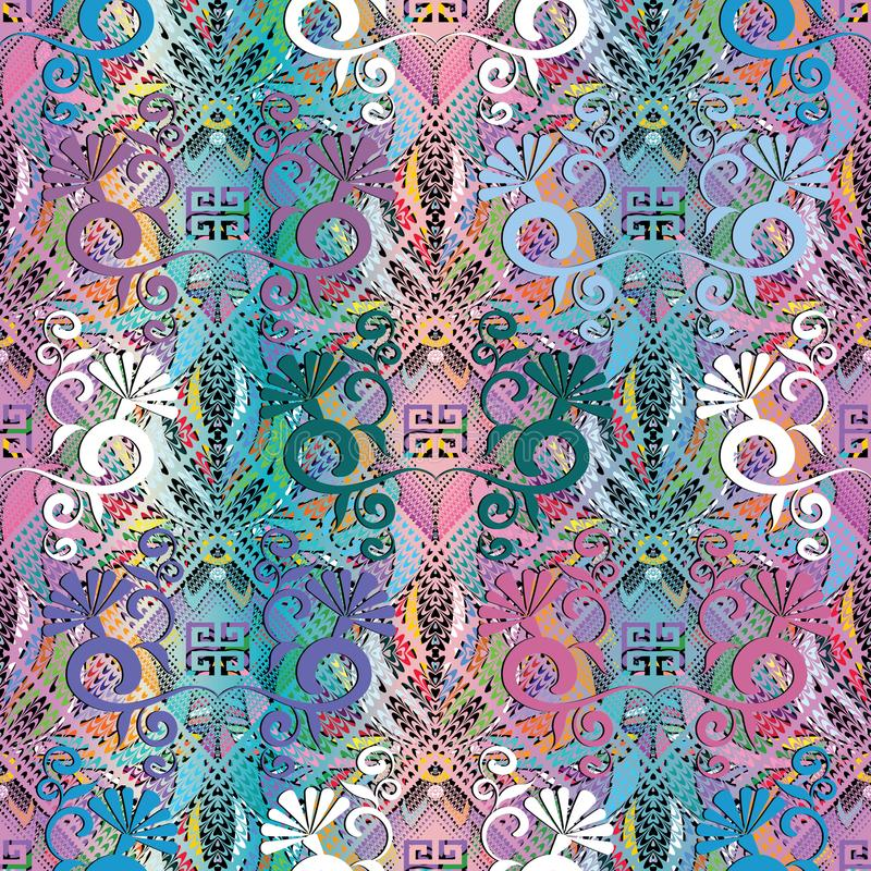 Floral colorful greek 3d seamless pattern. Vector grunge beautiful background, wallpaper. Dots, dotted lines, lattice, flowers, l royalty free illustration