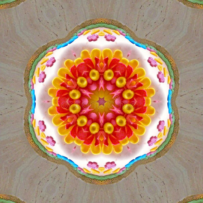 Floral colorful Kaleidoscopic mosaic texture stock image