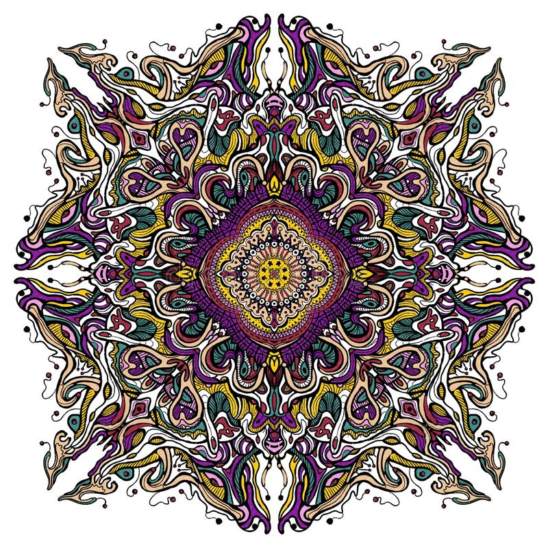 Floral colorful mandala. Colorful mandala with bit of floral and geometrical design royalty free illustration