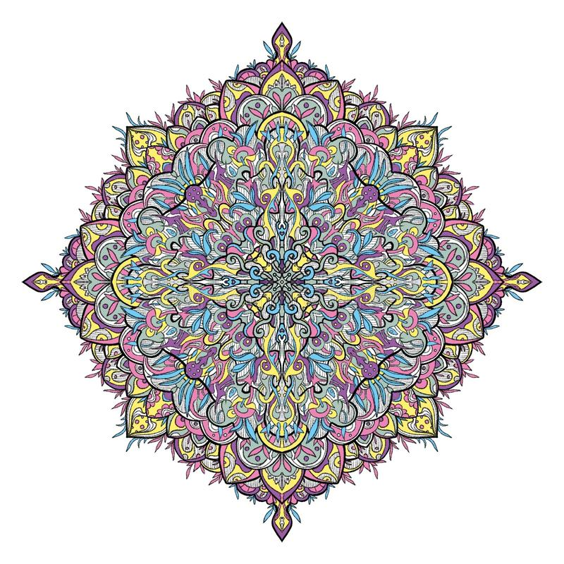 Floral colorful mandala. Colorful mandala with bit of floral and geometrical design stock illustration