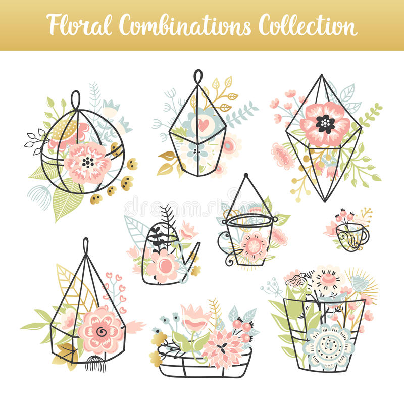 Floral combinations hand drawn vintage set royalty free illustration