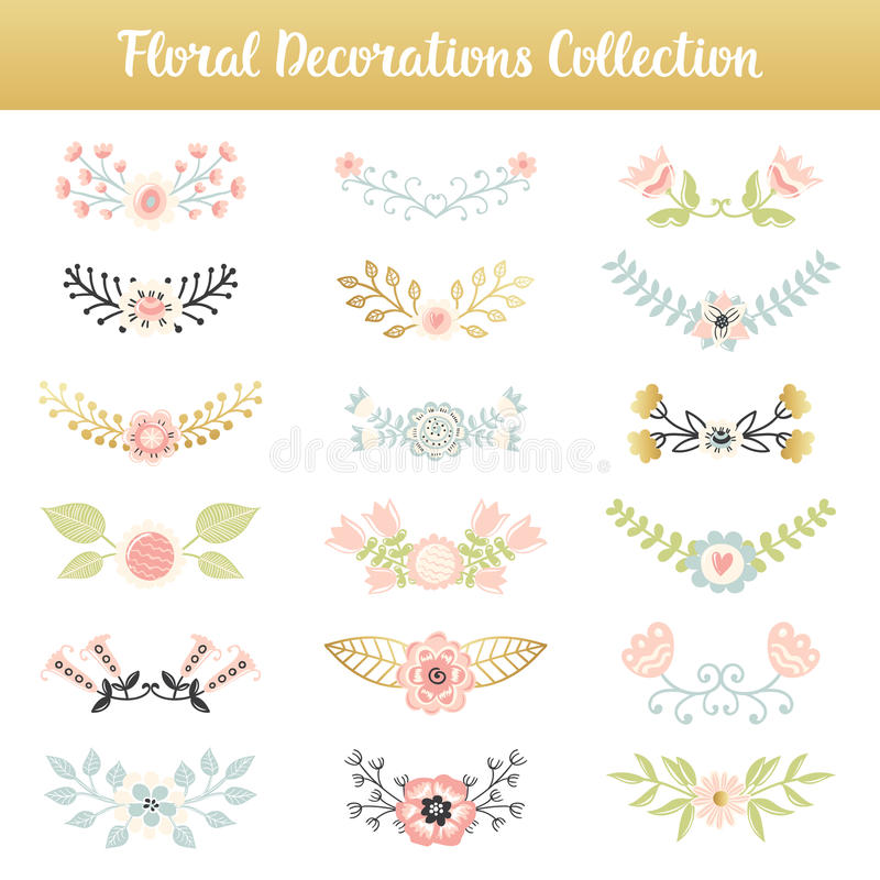 Floral combinations hand drawn vintage set stock illustration