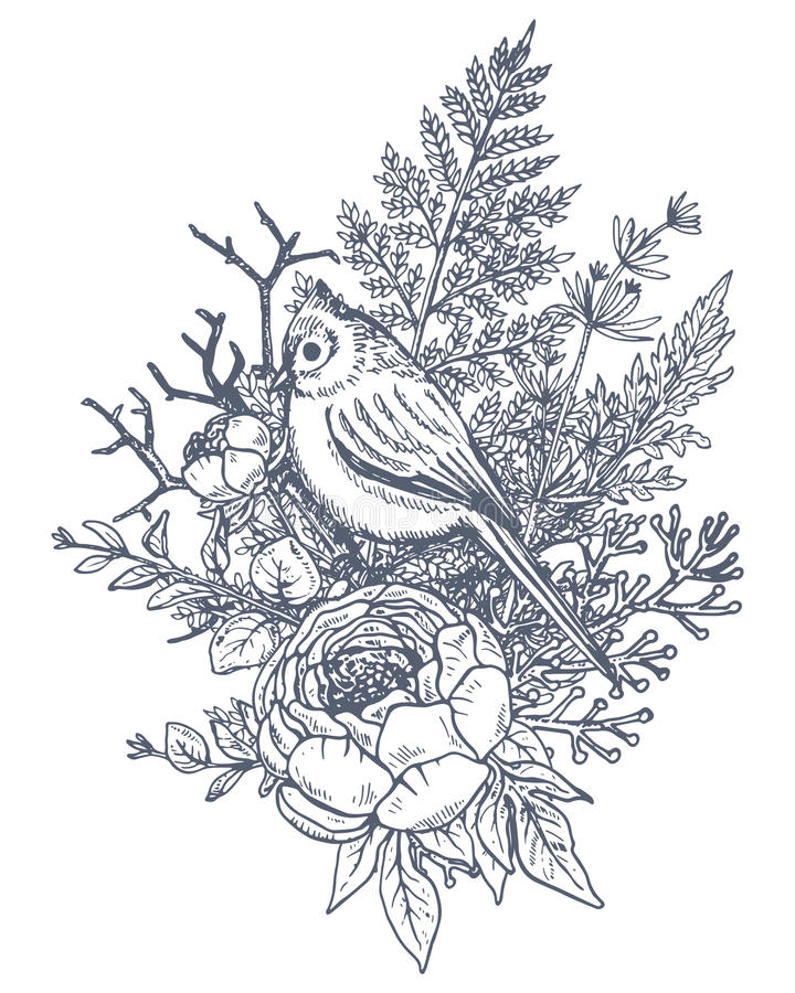 Floral composition. Bouquet with hand drawn flowers, plants, birds. Floral composition. Bouquet with hand drawn flowers, plants and birds. Monochrome vector vector illustration