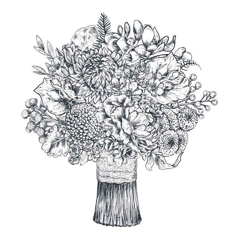 Floral composition. Bradal bouquet with beautiful hand drawn flowers, plants, ribbon. Monochrome vector illustration in stock images