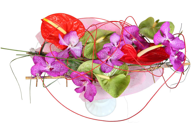 Floral composition with orchids and anthurium, bouquet of flower stock image
