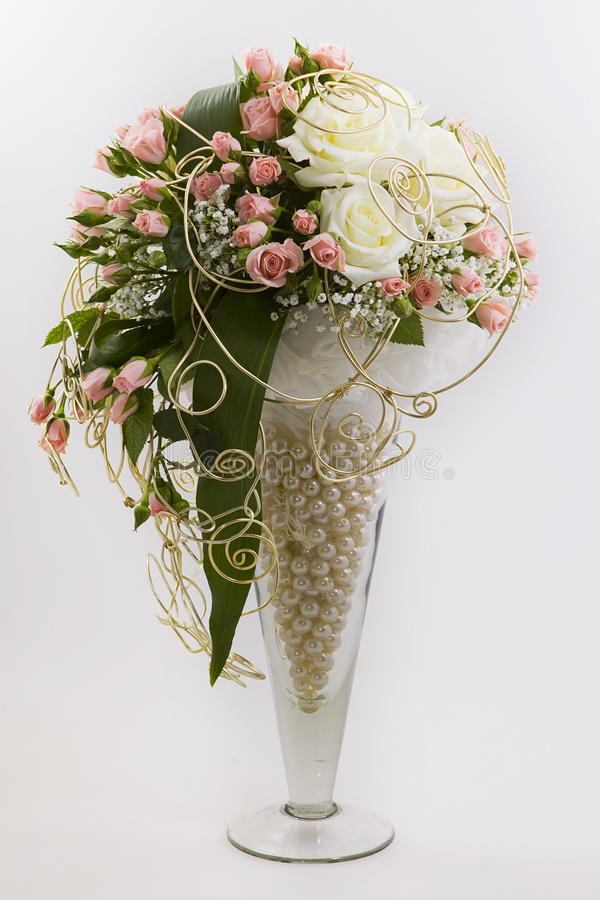 Floral composition stock image image of pink flowers for Different color roses bouquet