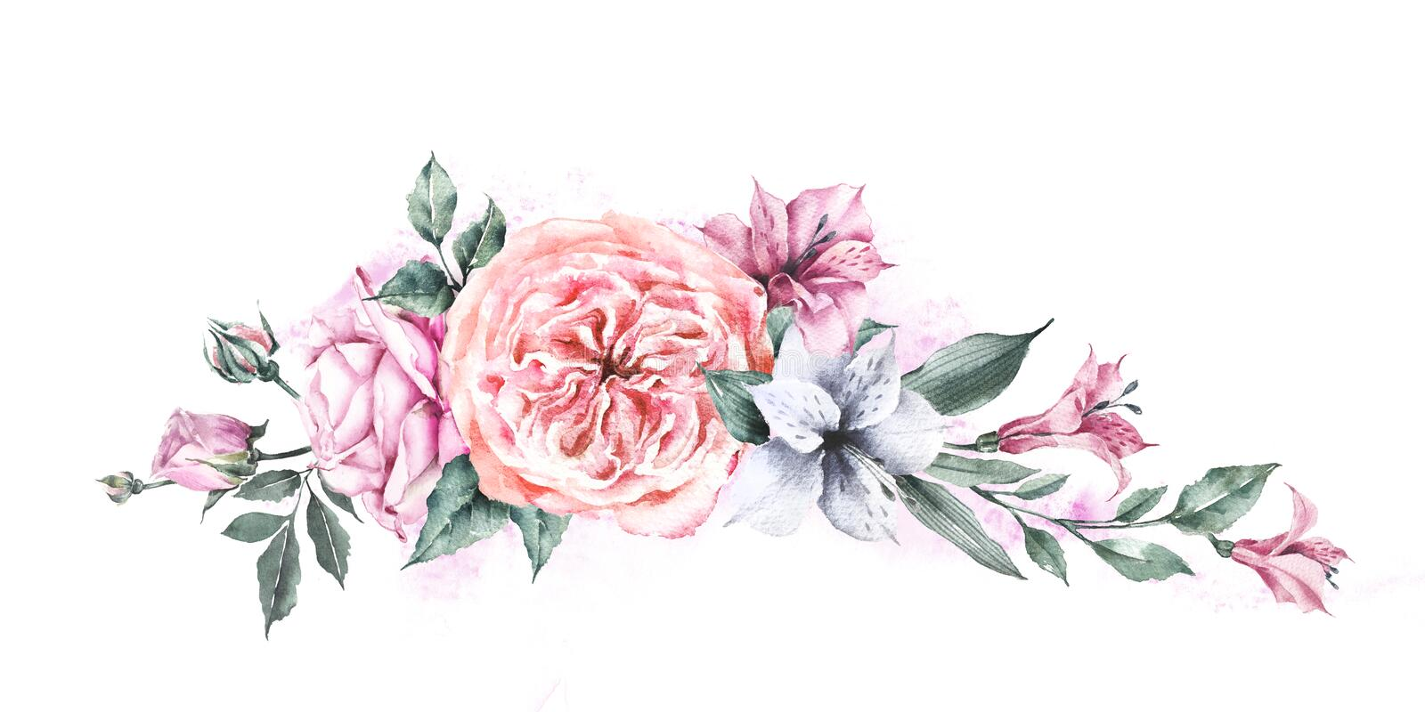 Floral Composition Of Roses And Alstroemeria Flowers In Pastel ...