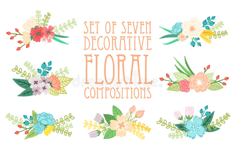 Floral compositions. Set of 7 floral compositions, decorative vector illustration royalty free illustration