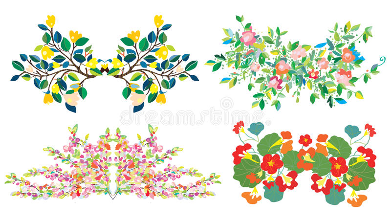 Floral compositions set for holidays. And cards stock illustration