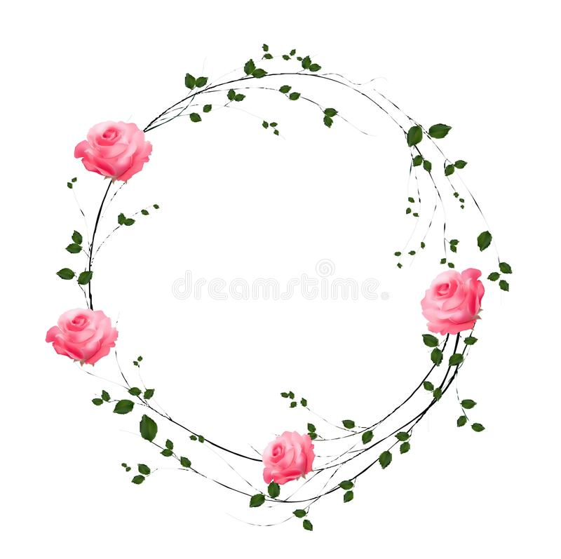The floral concept of circle frame vector illustration