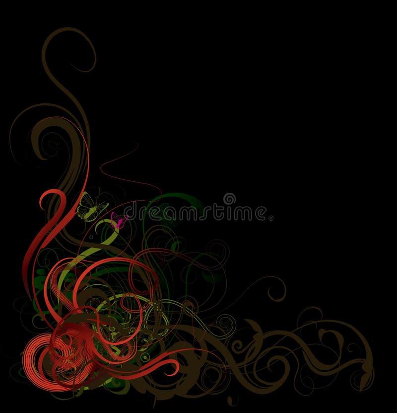 Floral corner. Abstract floral decorative corner-element for vector design stock illustration
