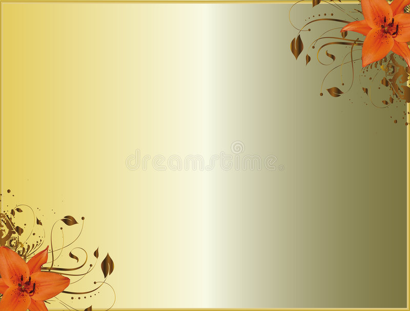 Floral corner design lilium vector illustration