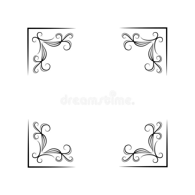 Floral corners set. Swirls, filigree elements. Decoration. Black on white. Vector. stock illustration