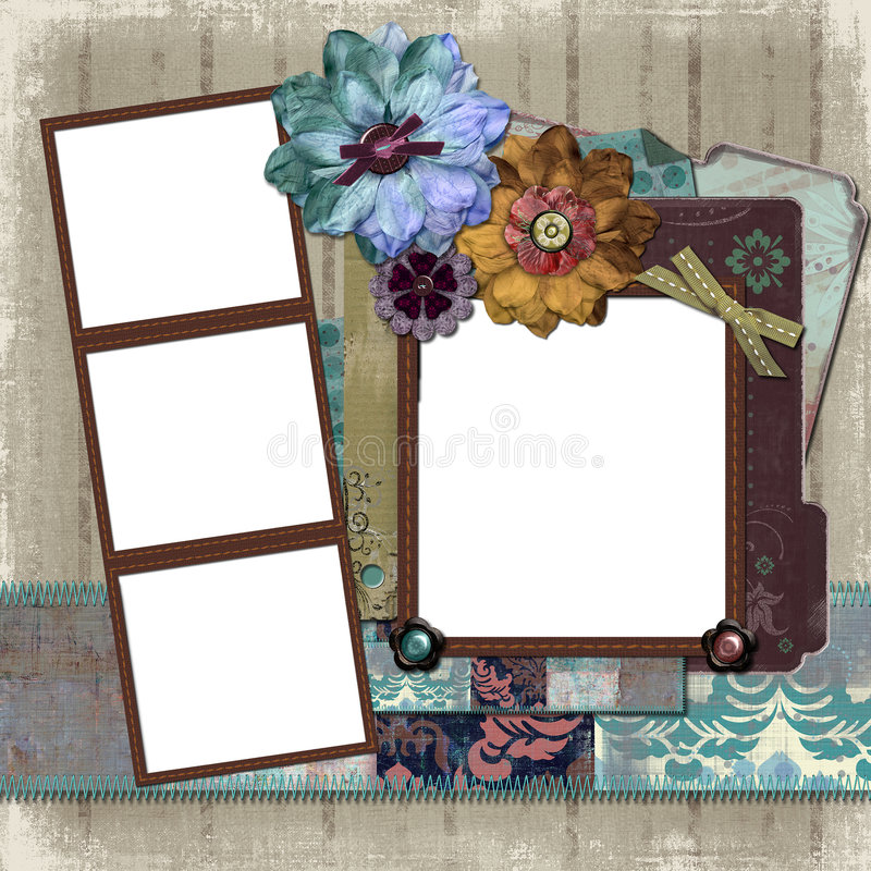Floral Country Photo Frame. A floral, country style background/photo frame for scrapbooking and designs vector illustration